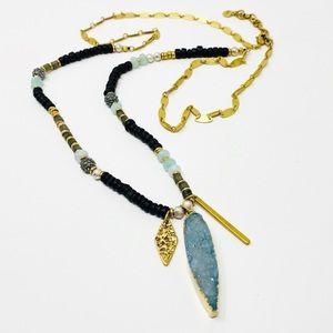 STELLA & DOT Long Necklace Blue Crystal Stone Gold